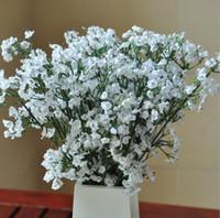 Elegantes flores artificiales de seda artificial Babysbreath gypsophila falsa planta de flor de la boda Decoración Casera partido blanco --- FP1032