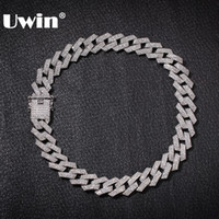 Uwin 20mm Prong Cuban Link Chains Necklace Fashion Hiphop Jewelry 3 Row Rhinestones Iced Out Necklaces For Men MX190730