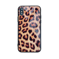 Leopard Print Glass Phone Case for Iphone X XR XS MAX Back C...