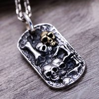 S925 Sterling Silver Retro Tha Black Silver Embossed with Sk...