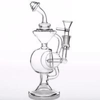 Glas Bongs Wasserpfeifen Bowl Adapter Inline Perclator Smoking mit schwarzem Sockel Schädel Rauchen Recycler Bohrinseln
