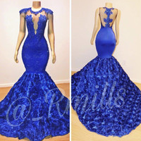 2019 New Royal Blue Cap Sleeves Lace Mermaid Prom Dresses Tu...