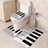 3 Peças Casa de Banho Conjunto simples Piano impresso Anchor conjunto de banho plano revestimento de fundo Pedestal tapete tapete não escorregadio tapete de casa de banho conjuntos de casa de banho