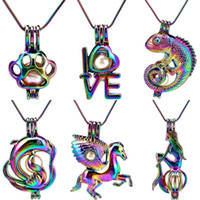 Anhänger Halsketten 22 '' Snake Chain Rainbow Pearl Käfig Tier Liebe Pferd Eidechse Medaillon Parfüm Diffusor Edelstahl Halskette