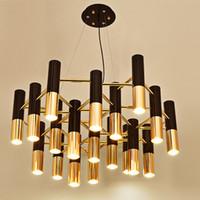 Luzes do candelabro do tubo de alumínio ITÁLIA Modern Led Chandeliers Iluminação Pendientes E14 Lâmpada AC 90-260V para venda