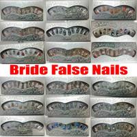 24X / box Bride volle falsche Nägel mit Kleber-Aufkleber 3D-Pre-Designed Diamant-Perlen-glänzenden Korn-Dekoration Hochzeit Braut-Fälschungs-Nagel-Kunst