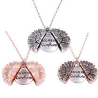 Fashion Bohemia Sunflower Double-Layer-Metall-Anhänger Halskette für Frauen öffnen langkettige Halskette Beschriftung sind Sie mein Sonnenschein Valentinstag