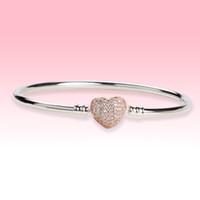 Aşk Kalpler Toka Düğün Bileklik Bileklik Kadın Hediye Takı Orijinal Kutusu Ile Pandora 925 Stelring Gümüş CZ Elmas Bilezikler