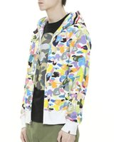 Fermuar Moda Tasarımcısı Camouflage ile Renkli Ceketler Kapşonlu Palto Erkek Uzun Kollu Casual Dış Giyim