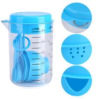7 Pçs / set Azul De Plástico De Medição Copo De Cozinha Ferramentas De Medição Conjuntos De Colheres De Cozinha Baking Café Colheres Formadas maatbeker