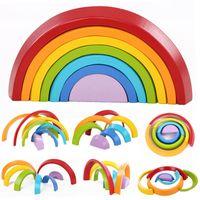 7 stücke Kinder Regenbogen Stapeln Holzklotz Spielzeug Baby Kreative Farbsorte Regenbogen Holzklötze für Kinder Geometrische Früherziehung