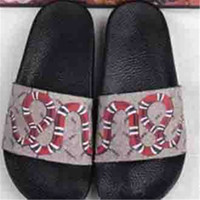 Designer GG Slippers Wide Flat Slipper with snake Sandals Sl...