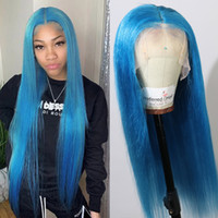 AIVA 150 Density Water Blue Hair Full Lace Wigs Silky Straig...