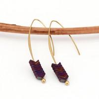 Gold Plated Arrow Stock Design Boucles d'oreilles Géométrie en pierre naturelle Boucles d'oreilles longues pour femmes bijoux Boho Tassel Boucle d'oreille YC