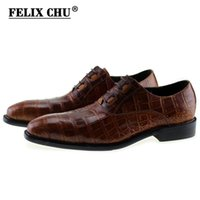 FELIX CHU New Italian Modern Men Formale Oxford Scarpe in vera pelle stampa coccodrillo marrone verde Lace Up Dress Calzature da uomo