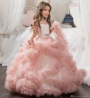 Bonitos roxos e brancos Flor Meninas Vestidos de contas renda Appliqued Arcos Pageant vestidos para festa de casamento Crianças