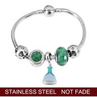 Bracciali di fascino 2021 Originale in acciaio inox in acciaio inox tallone di vetro murano principessa vestito charms smalto pandora braccialetto day donne gioielli donne verde