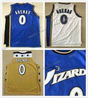 Les hommes rétro # 0 gilbert arenas jersey jaune bleu couleur blanc de haute qualité 0 arènes universitaire ncaa basketball maillots de basket-ball pas cher
