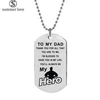 الفولاذ المقاوم للصدأ علامة الكلب القلائد لأبي ، وسوف تكون دائما بطل بلدي قلادة سلسلة قلادة الرجال الأب الأب ويعرض المجوهرات
