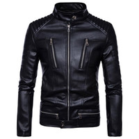 PU Leather Jackets Men Bomber Winter Motorcycle Jacket Steam...