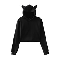 Long Sleeve Cropped Hoodies Sweatshirt New Cat Hooded 0050