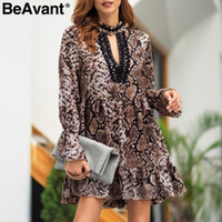 BeAvant Sexy snake print long sleeve dress women 2019 V neck...