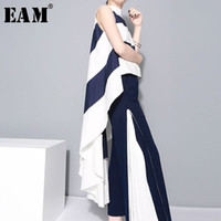 [eam] 2019 New Spring Stand Collar Sleeveles Blue Striped Bi...