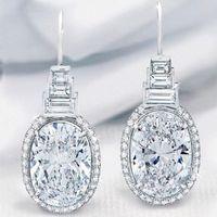 أعلى بيع الأزياء والمجوهرات خمر اليدوية 925 فضة قص البيضاوي الأبيض توباز CZ الماس الأحجار الكريمة المرأة الزفاف تعلق القرط هدية