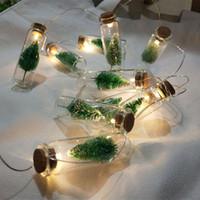 Bottiglia 1M 10pcs mini albero di Natale LED luci leggiadramente della stringa vetro ciondolo Garland decorazioni di Natale Natale per casa regalo di nuovo anno