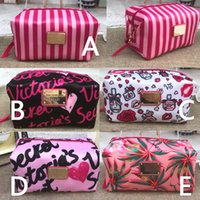 Pink letter makeup bag print large capacity makeup bag cosme...