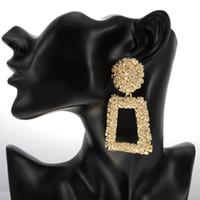 Declaração do vintage Grandes Brincos Geométricos Moda Longo Brincos de Gota de ouro para As Mulheres Do Partido de Metal Pendurado Brinco Jóias