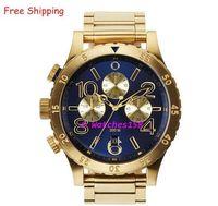 Бесплатная доставка NX мужские A486-1922 кварцевые часы THE 48-20 CHRONO синий циферблат золотой стальной лентой ХРОНОГРАФ A4861922