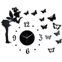 Papillon Elf Effet Miroir Autocollant DIY Horloge Murale Décoration