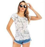 Neck Top Sommer Damen-lässige T-Blumendruck Designer Damen-T-Shirts Mode kurze Hülsen-dünne Frauen Besatzung