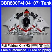 هيكل لهوندا CBR 600F4i CBR600 FS CBR600F4i 04 05 06 07 لامعة بيضاء ساخنة 281HM.23 CBR 600 F4i CBR600 F4i 2004 2005 2006 2007 Fairings kit