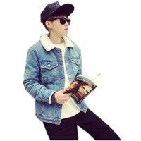 رجل إمرأة شتاء جينز سترات الصوف الدافئة معطف الشتاء أزياء جينز سميكة معطف لون الصلبة خمر الدينيم أعلى جودة الحجم M-2XL