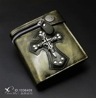 wallet with chain Cool Mens Gothic Punk Vintage Gold Leather...