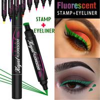 Doppel-End-Winged Neon Eyeliner-Flüssigkeit fluoreszierend leuchtend Bunte Seal Stamp Eye Liner Pen Wasserdichtes langlebiger Grün Make-up Bleistift