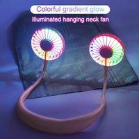 2020 الأزياء الرياضية المحمولة مروحة يمكن ارتداؤها مع ضوء LED الملونة usb إعادة شحن neckband مروحة كهربائية 2 في 1