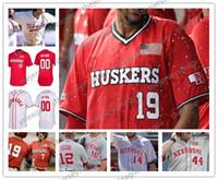 네브라스카 커 누스 커스 사용자 지정 번호 번호 스티치 그레이 크림 화이트 레드 2019 NCAA 대학 야구 저지 S-4XL # 2 Jaxon Hallmark
