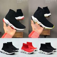 Paires chaussures chaussettes vitesse formateur Bottes tout-petits garçons baskets filles jeunesse Plate-forme Noir Rouge Kid enfants plein air chaussures 24-35