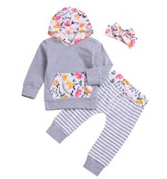 3pcs set New Style Baby Girls Clothes Sets Hooded Pullover T...