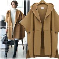 Moda kadınlar kış kapüşonlu Batwing kollu yün ceket giyim pelerin pançolar pelerin mont mizaç pelerin şal ceket kadın