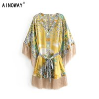 Vintage Chic Women Floral Print V - out Sharpen Quaste Bohemi...