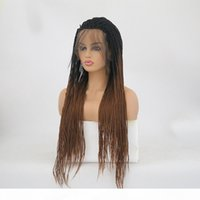 Braided Lace Front Wigs Ombre Brown Heat Resistant Fibe Hair...