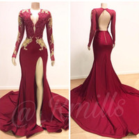 Dark Red Sexy Mermaid Prom Party Dresses 2019 V Neck Long Sl...