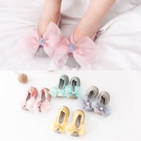 Infants Girls lace bow rubber soft sole knitted indoor shoes...