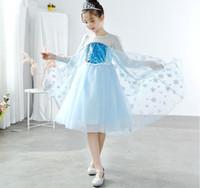 فتاة الثلوج الملكة طويلة الأكمام الأميرة اللباس الطفل زي هالوين حزب تأثيري يتوهم فساتين الاطفال الترتر التنانير HHC 005