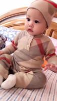 Autunno Inverno Neonato Baby Boys Girls Pagliaccetti a maniche lunghe in cotone a maglia Plaid Tuta Tuta Neonato Playsuit Sleepsuit Panno per bambini