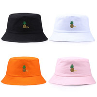 여성 남성 봄 가역 버켓 모자 귀여운 파인애플 놓은 힙합 챙이 넓은 썬 프로텍션 팩커 블 어부 캡
